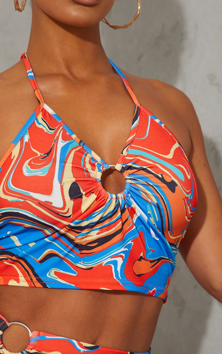 Multi Abstract Swirl Print Ring Detail Halterneck Crop Top 4