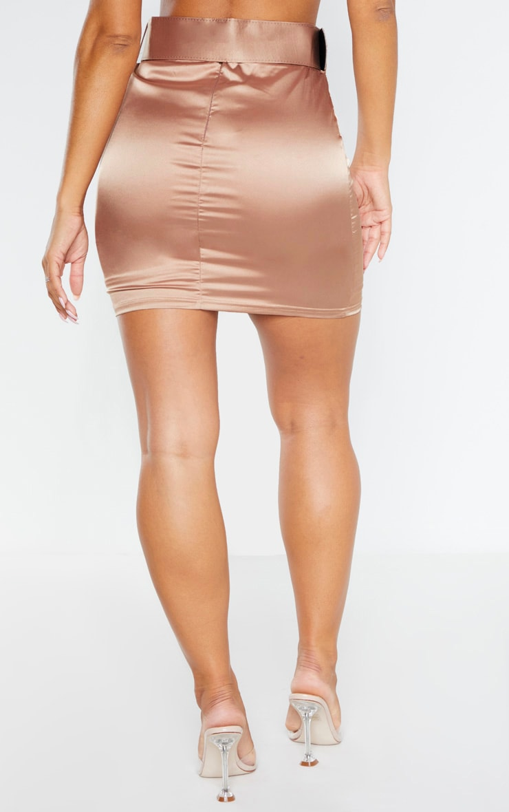 Champagne Satin Belt Detail Mini Skirt 4