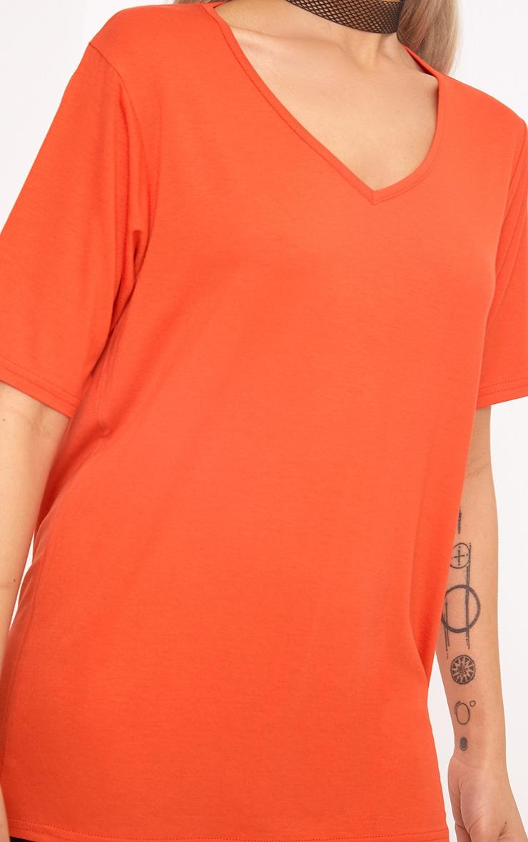 Basic Bright Orange  V Neck T Shirt 5