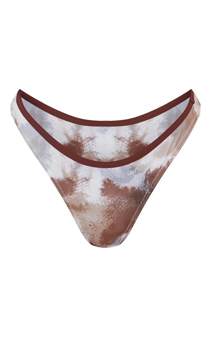 Brown Abstract Print V Front Bikini Bottom 5