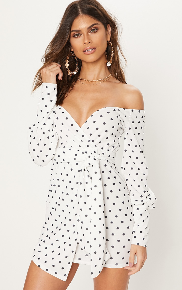 great deals 2017 catch quite nice White Polka Dot Bardot Wrap Dress