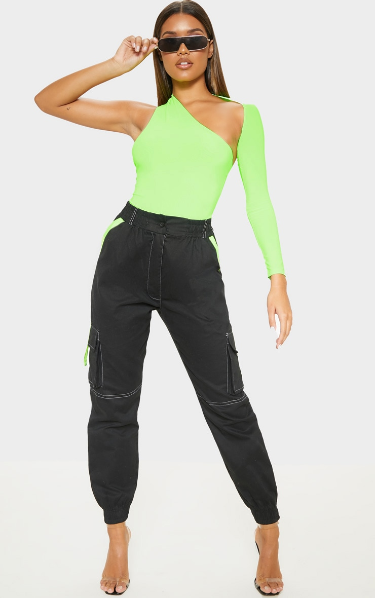 Neon Lime One Shoulder Asymmetric Bodysuit 1