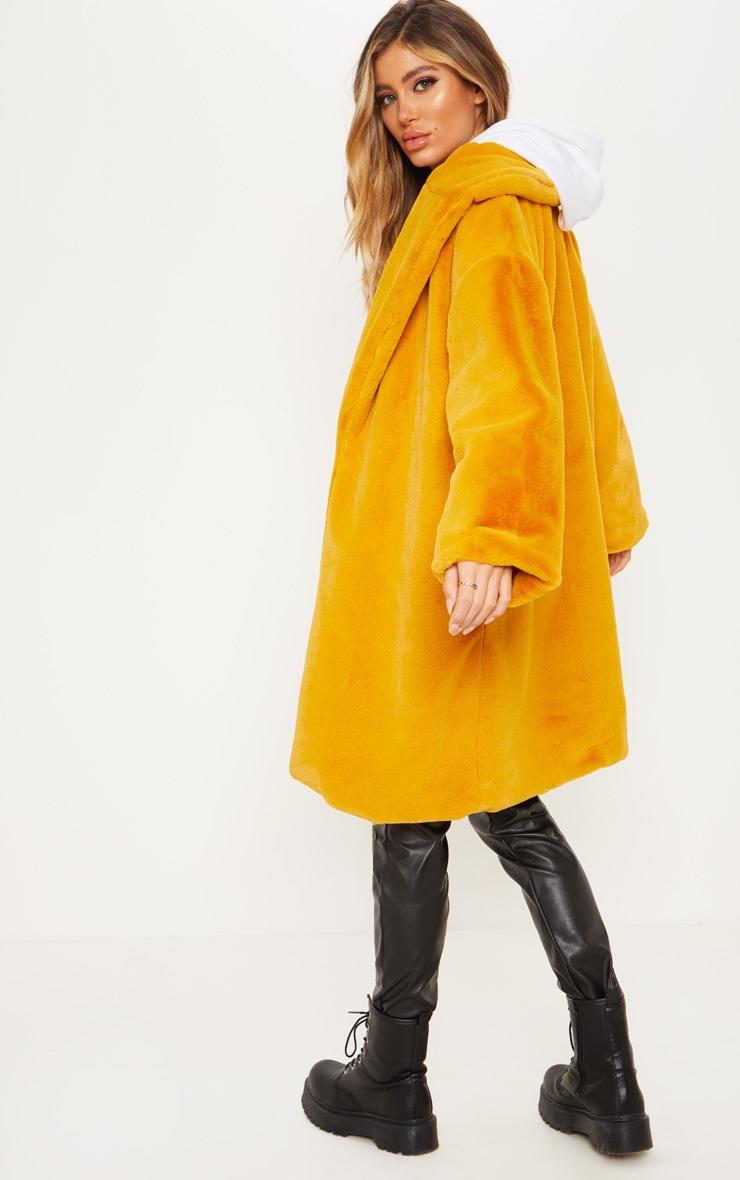 Mustard Midi Faux Fur Collar Coat 2