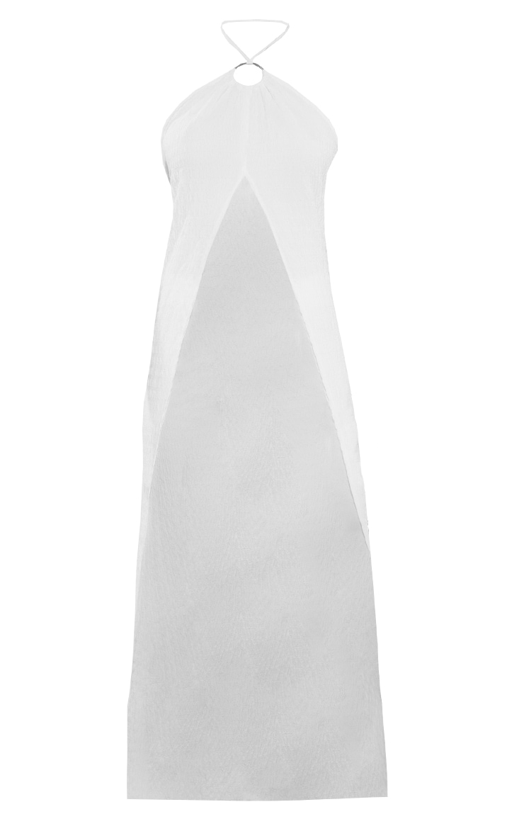 White Textured Open Front Longline Floaty Beach Top 5