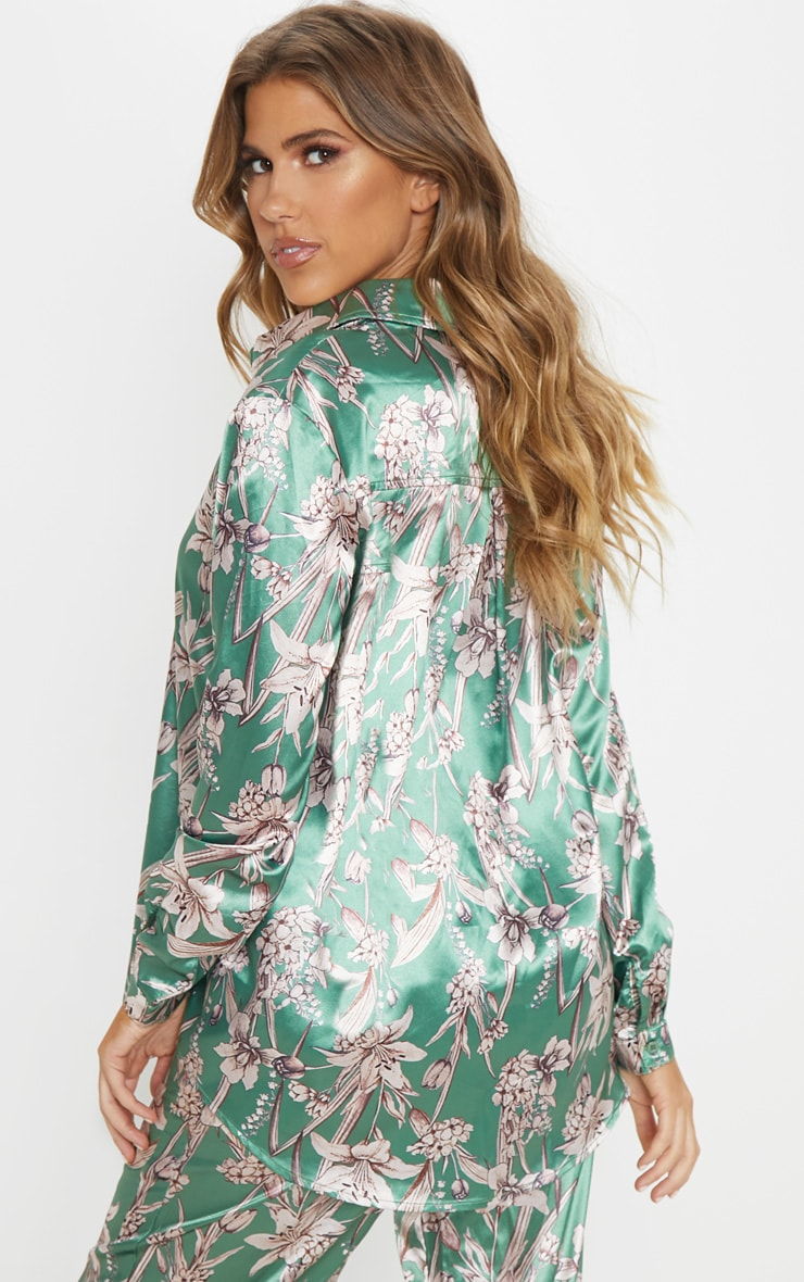 Green Satin Floral Oversized Shirt 2