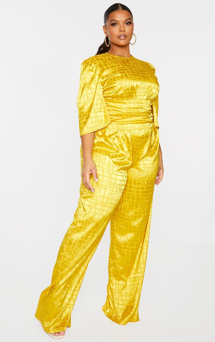 Plus Chartreuse Satin Jacquard Short Sleeve Ruched Jumpsuit 3