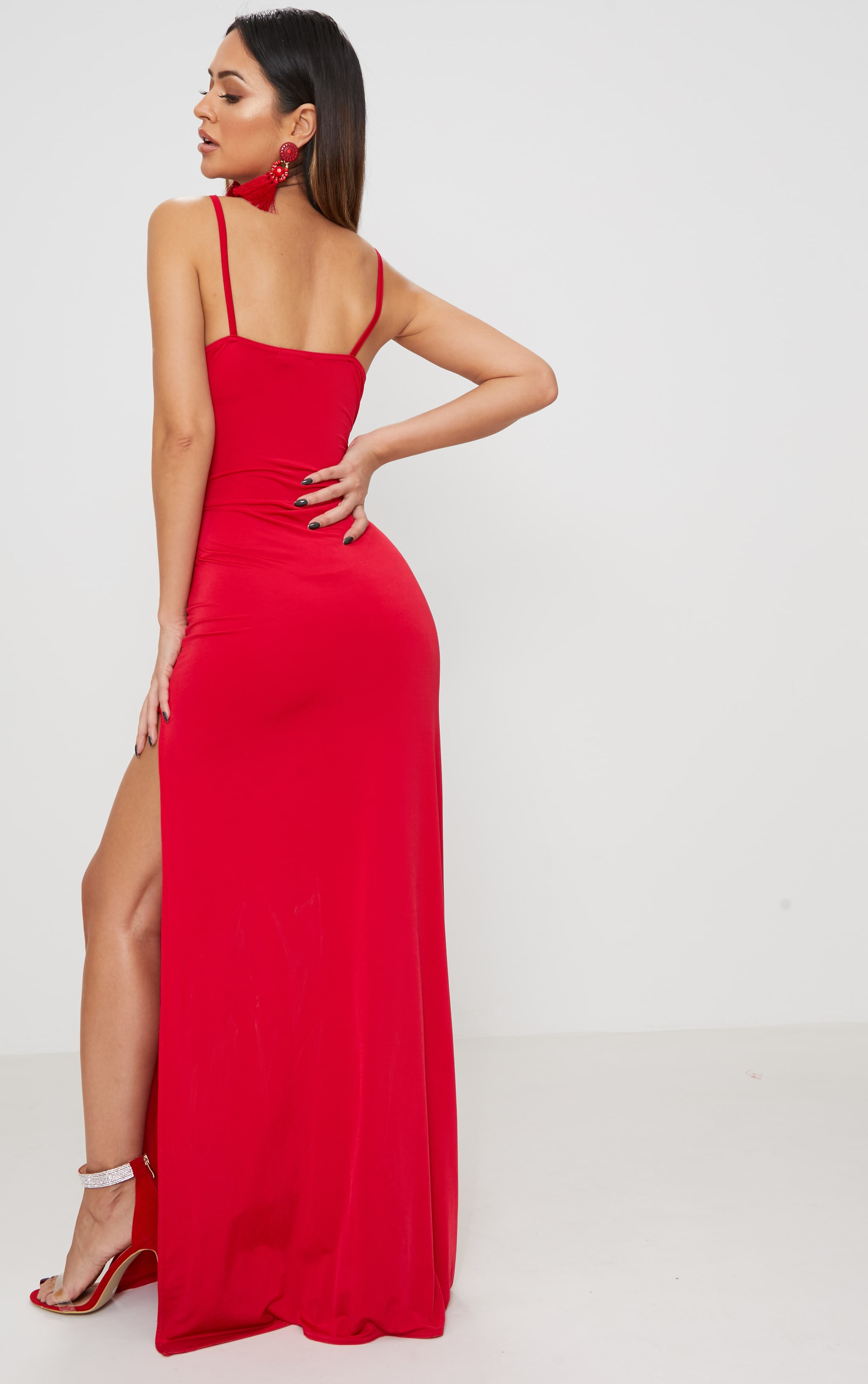 Red Strappy Plunge Slinky Maxi Dress 2