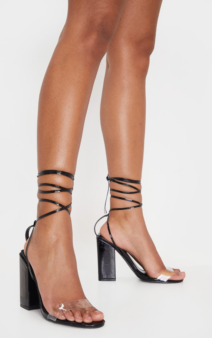Black Wide Fit Block Heel Ankle Tie Strappy Sandal 2