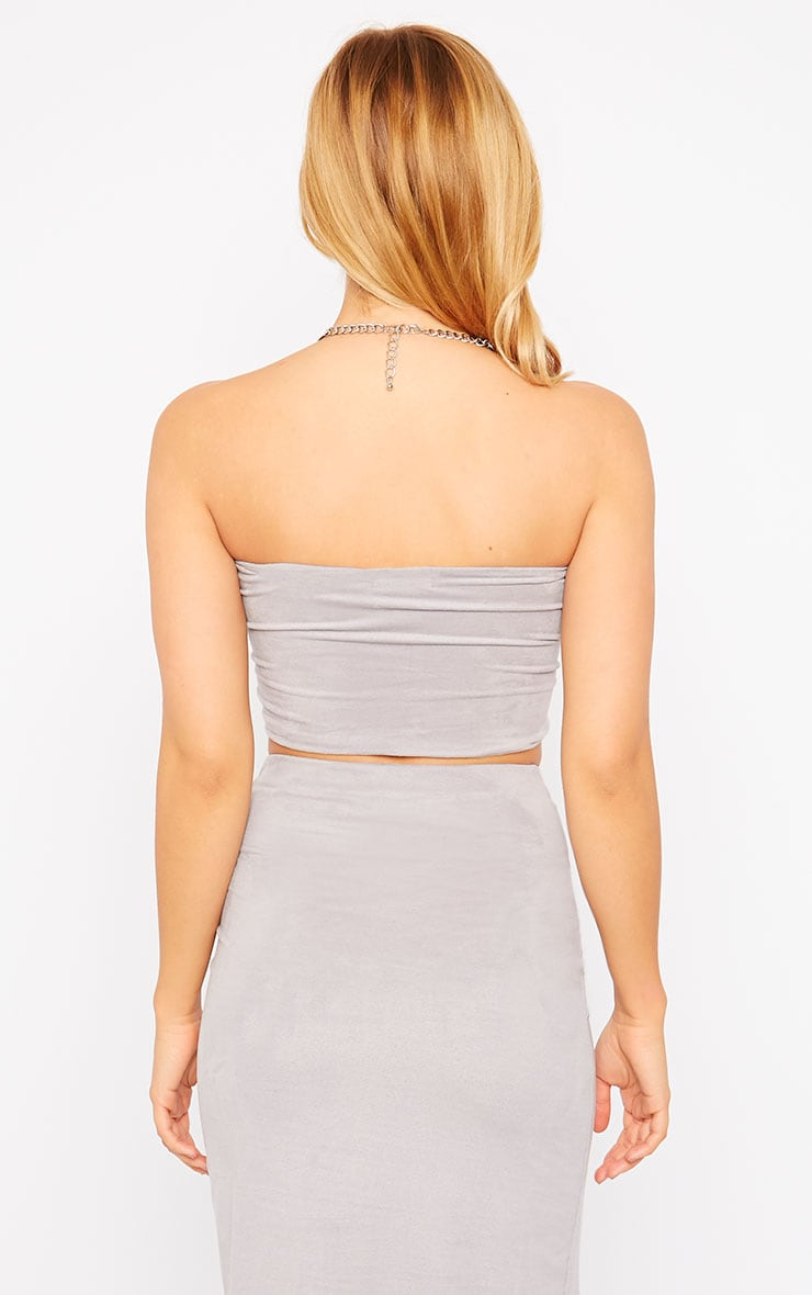 Riley Grey Suede Bandeau Crop Top 2