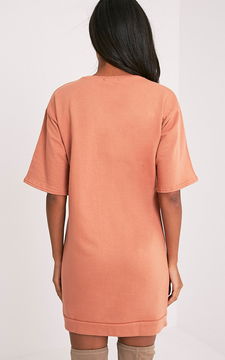 Anabelle Deep Peach Button Up Sweater Dress 2