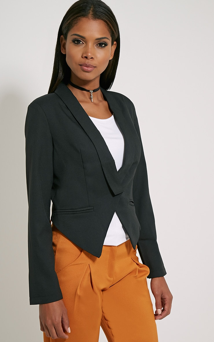 Jaida Black Tailored Cropped Blazer 4