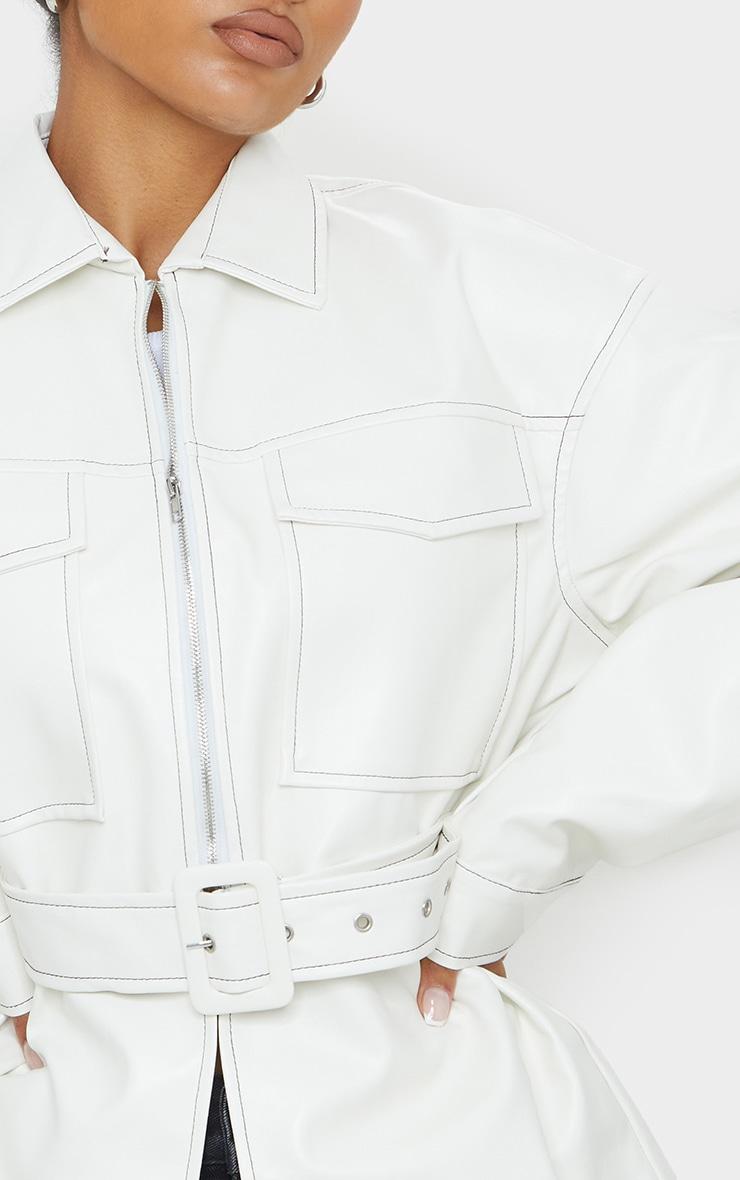 Cream PU Contrast Stitch Belted Shacket 4