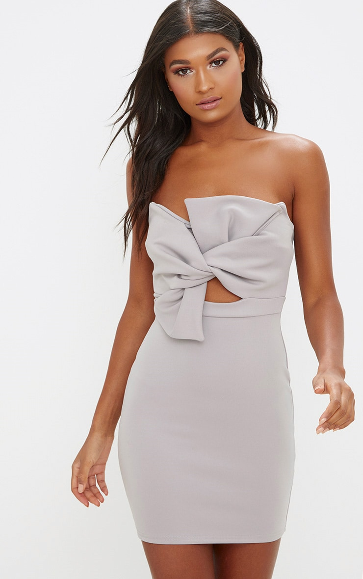 Ice Grey Scuba Bow Detail Bodycon Dress 1