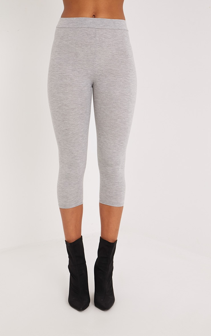 Basic Grey Cropped Jersey Leggings 2