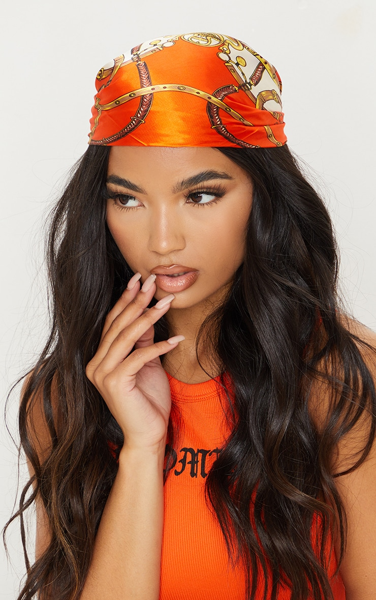 Orange Chain Print Bandana 1