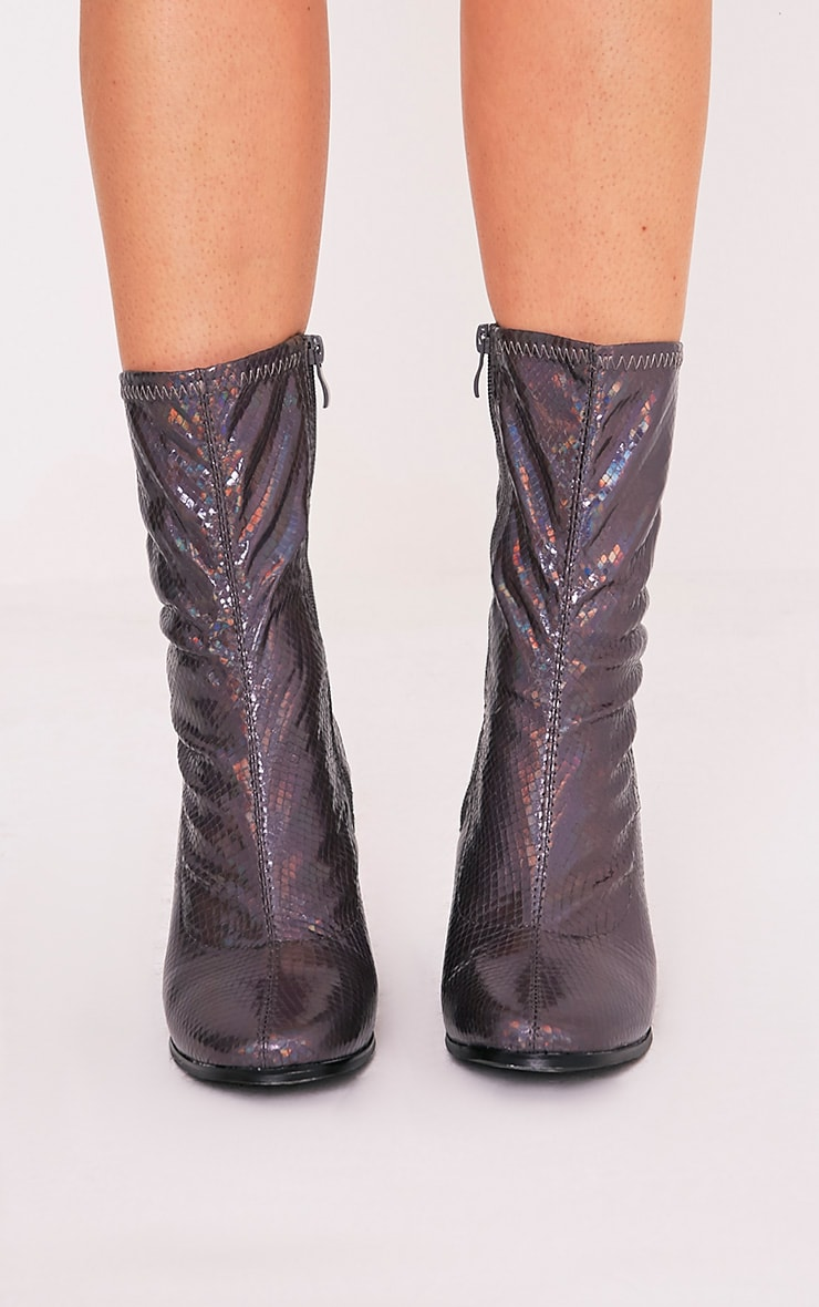 Adreena Black Holographic Heeled Boots 3