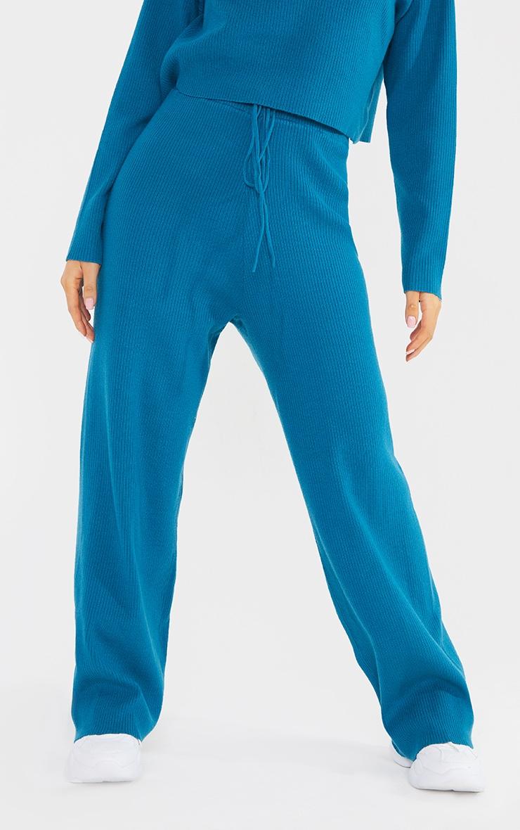 Petite Blue Soft Rib Wide Leg Joggers 2