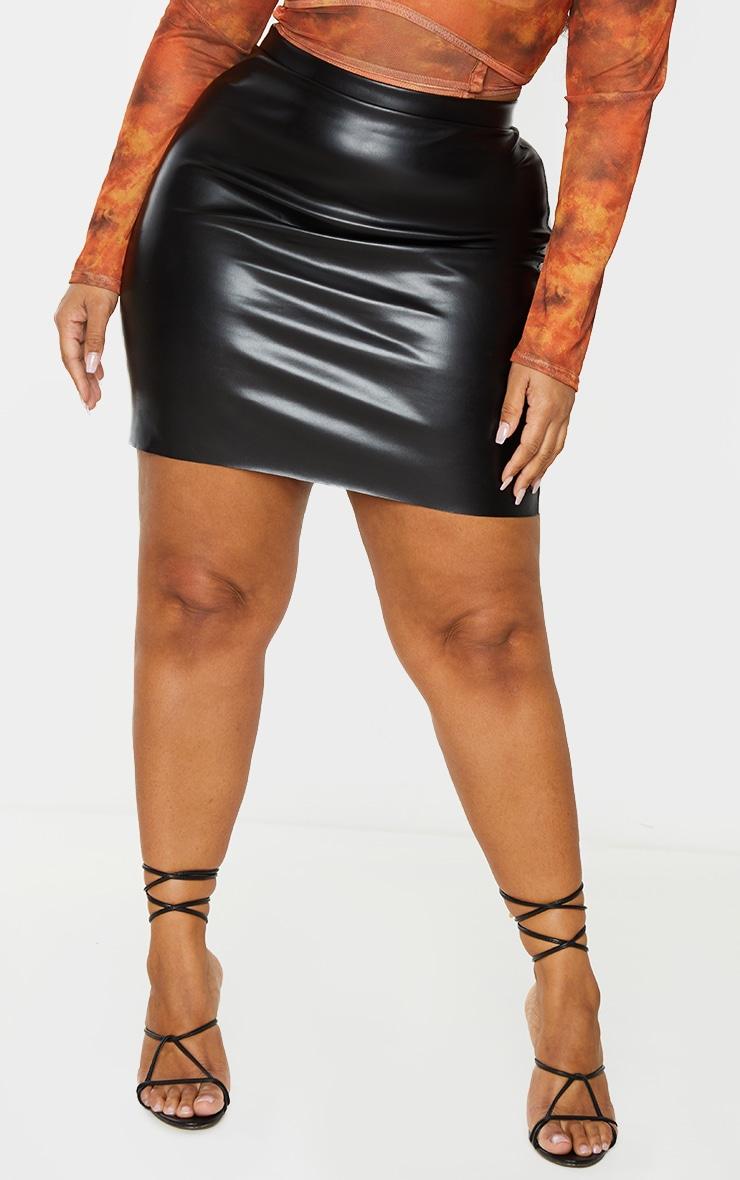 Plus Black Basic Faux Leather Mini Skirt 2