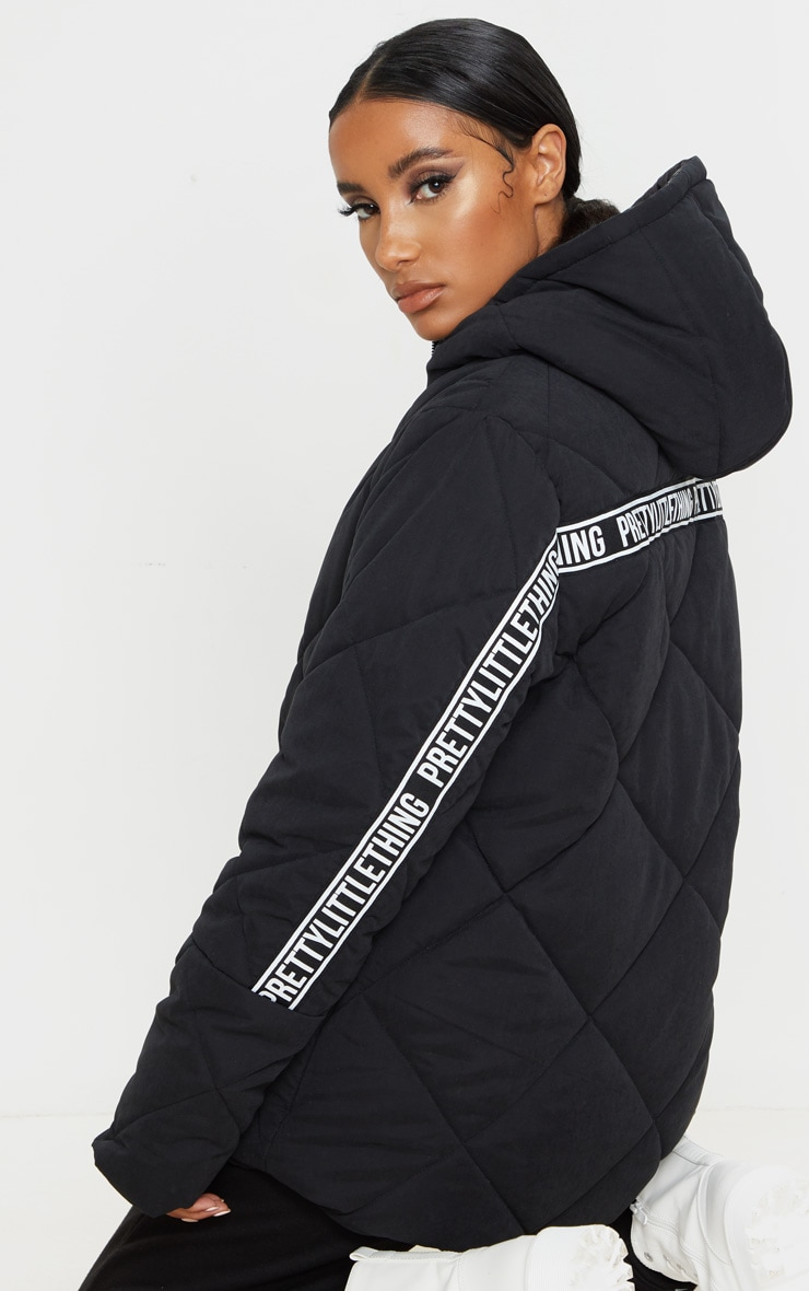 PRETTYLITTLETHING Black Peach Skin Diamond Quilted Oversized Puffer 1
