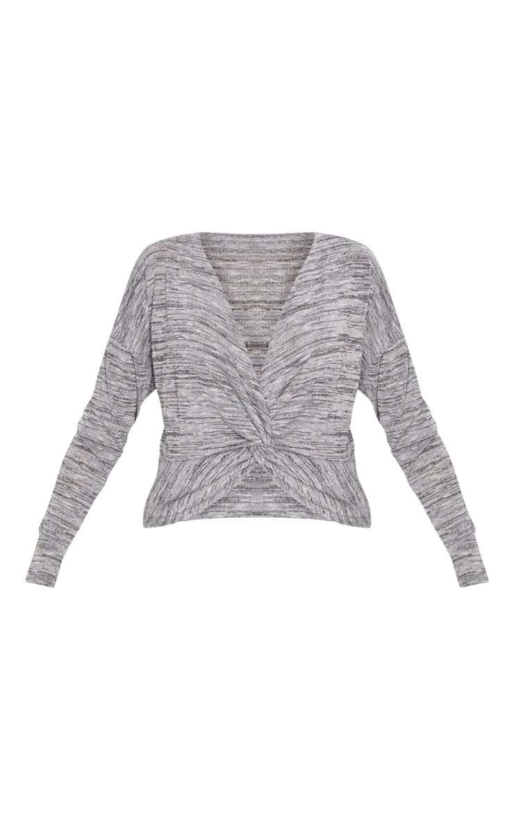 Silver Glitter Knit Twist Front Top 3
