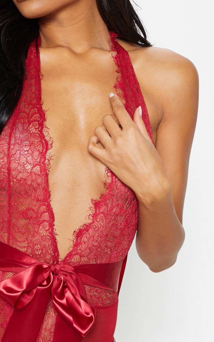 Red Lace Tie Waist Body 7