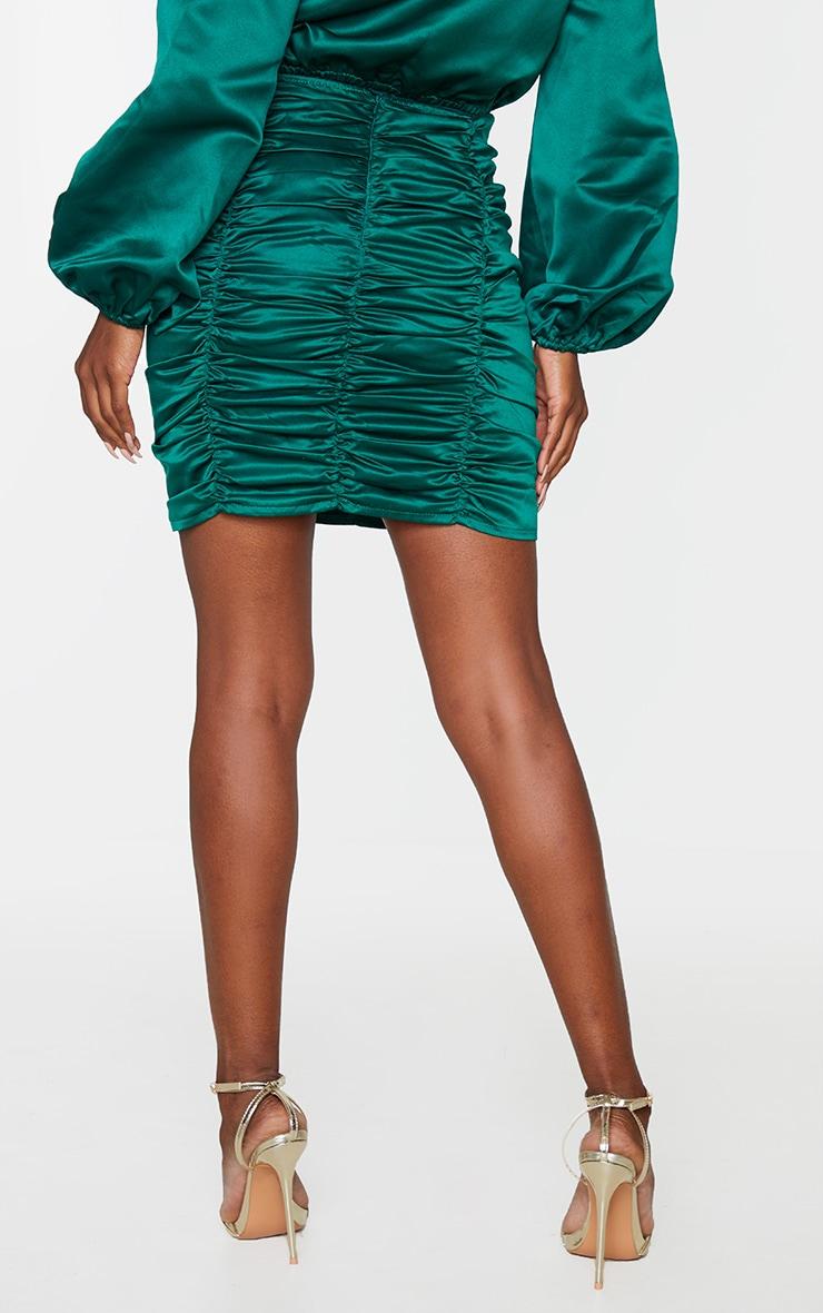 Emerald Green Ruched Panel Mini Skirt 3