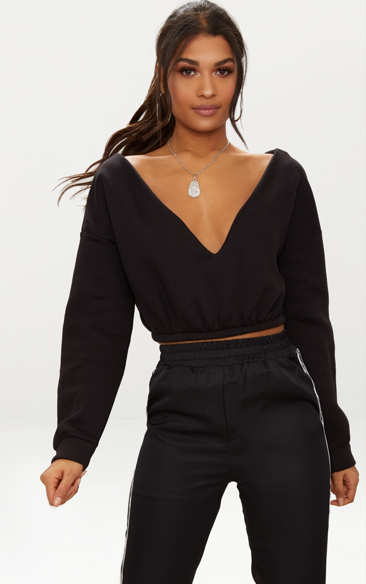 Black Crop Off Shoulder Sweater Tops Prettylittlething