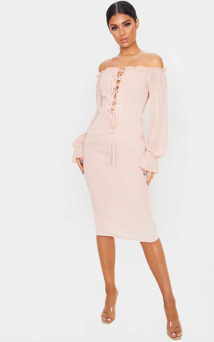 Dusty Pink Bardot Lace Up Chiffon Midi Dress 1