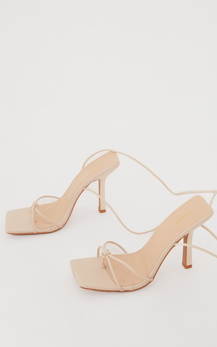 Cream Pu Square Knot Detail Toe Thong Lace Up High Heeled Sandals 4