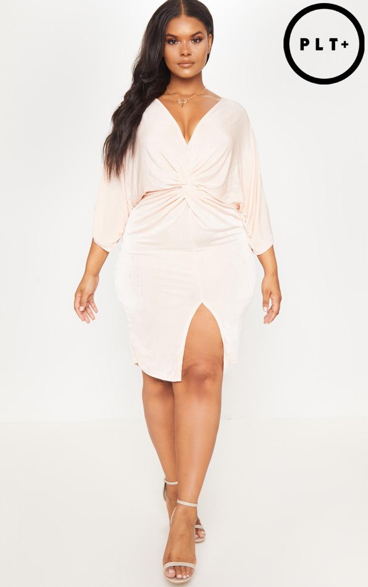 Plus Nude Slinky Kimono Midi Dress 4