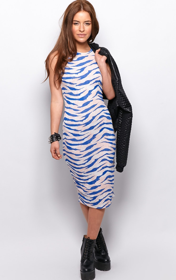 Jennifer Pink Zebra Print Midi Dress 3