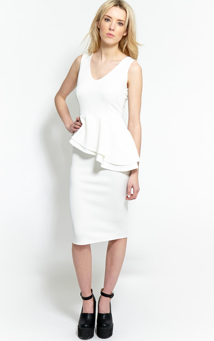Glenda White Peplum Midi Dress 4