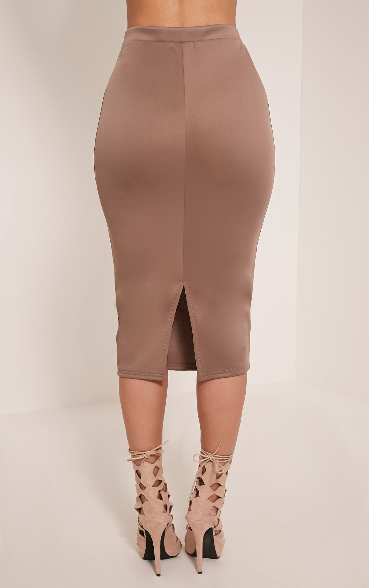 Reyna Taupe D-Ring Belt Scuba Midi Skirt 5