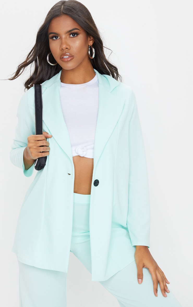 Mint Green Oversized Boyfriend Blazer 1