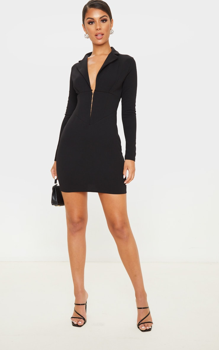Black Long Sleeve Corset Detail Blazer Dress 4