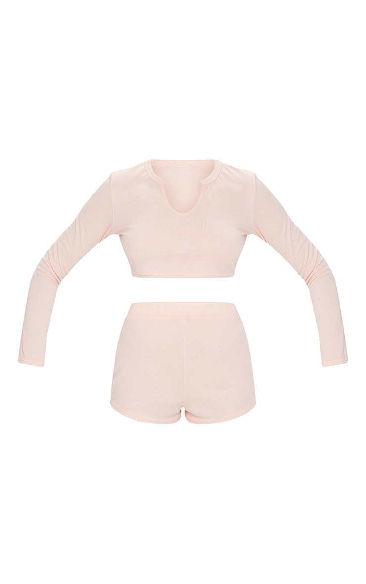 Peach Ribbed Long Sleeve Top And Shorts PJ Set 5