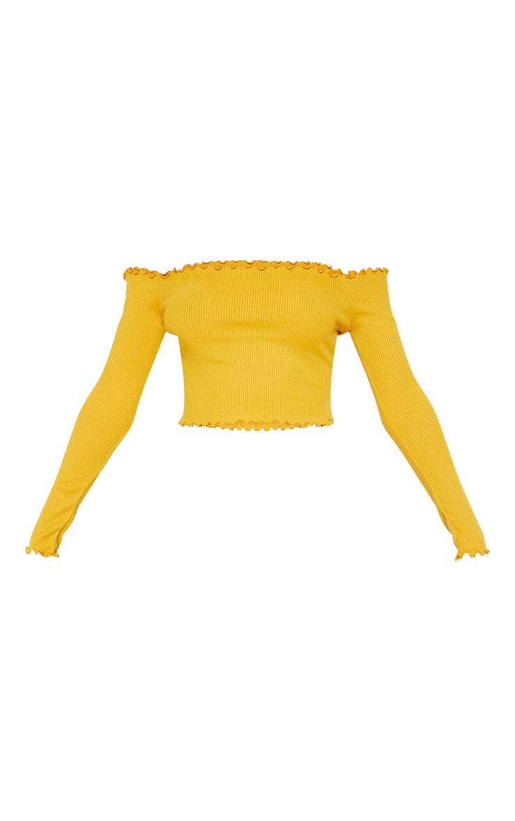 Mustard Frill Edge Crop Top 3