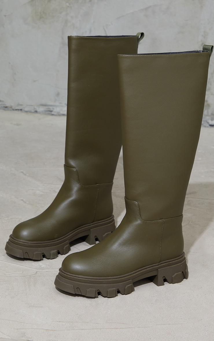 Khaki Extreme Cleated Sole Calf High Wellie Boots 3
