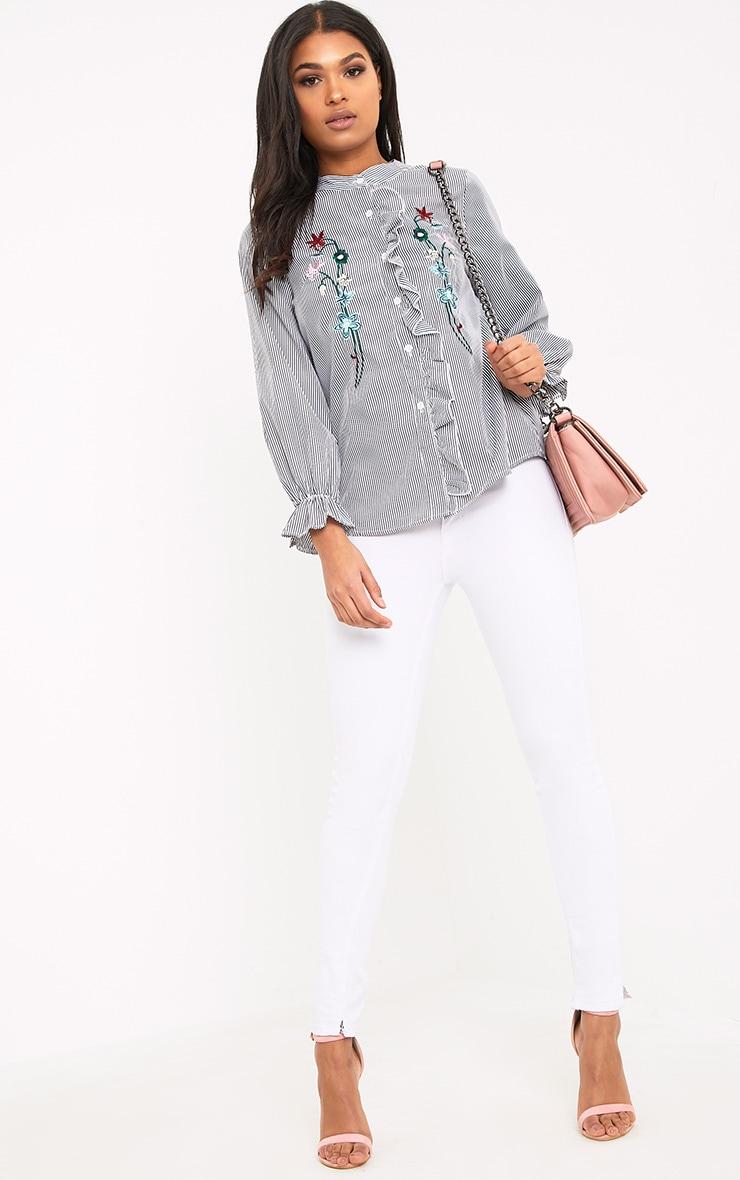 Linette Black Embroidered Stripe Shirt 4
