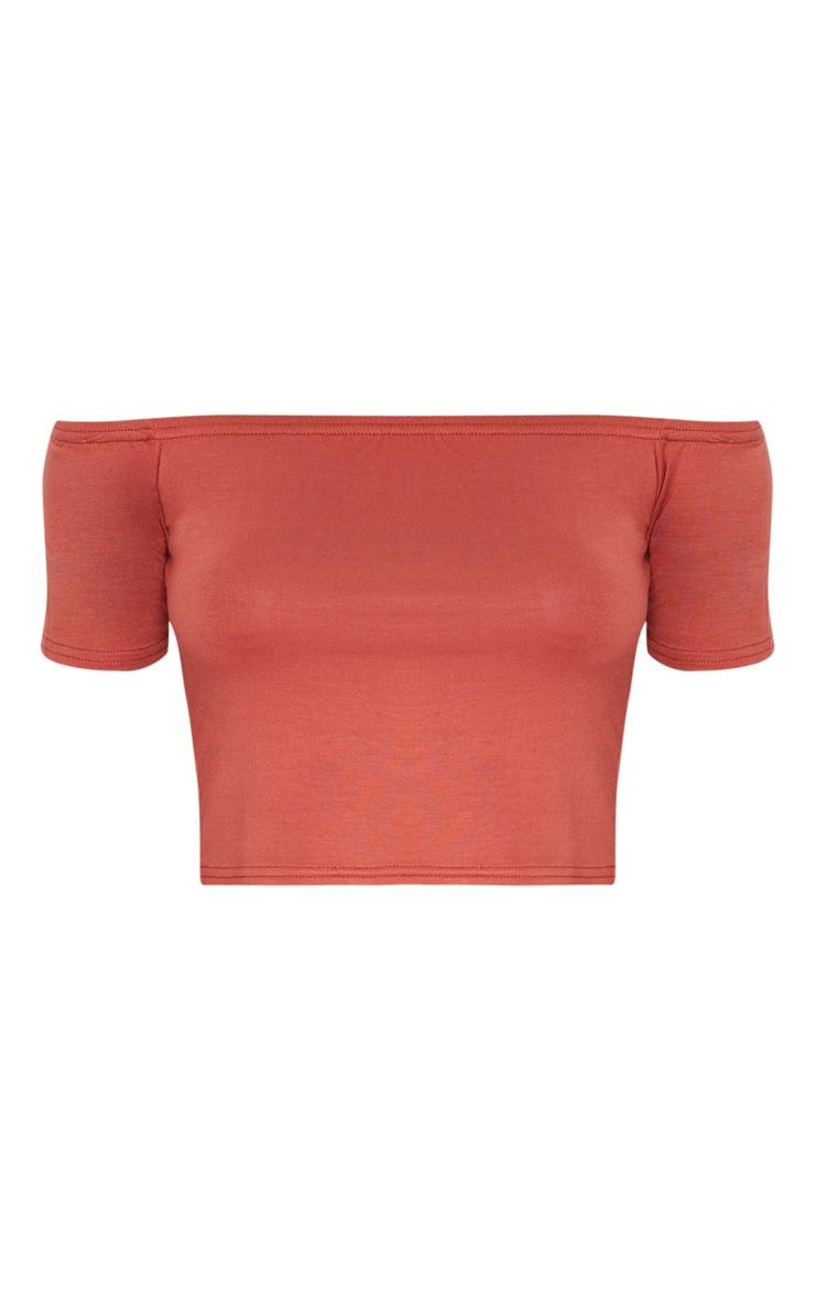 Basic Burnt Orange Bardot Crop Top 3