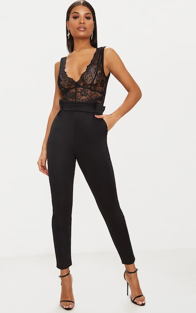 Black Pleated Waistband Tailored Trousers