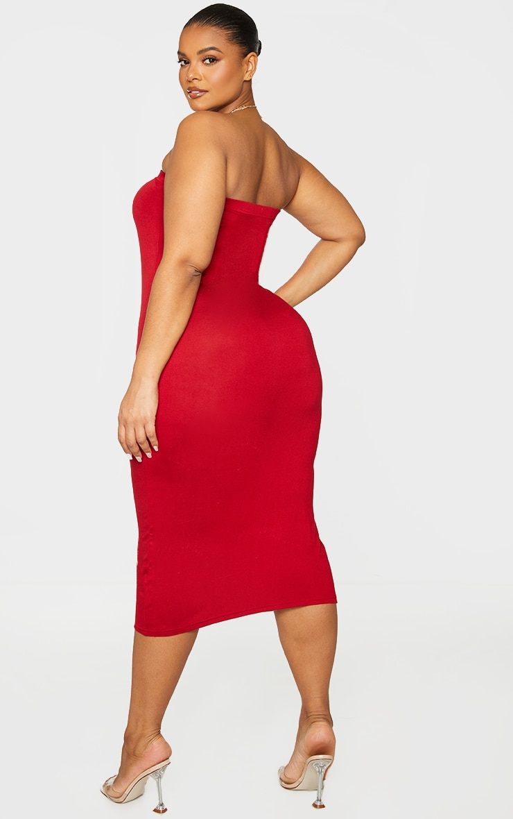 Plus Basic Red Bandeau Midaxi Dress 2