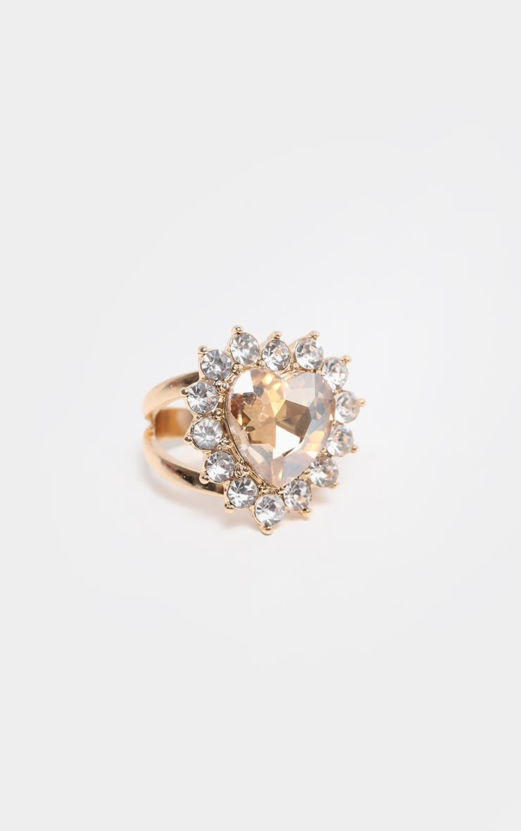 Gold Crystal Heart Shape Cocktail Ring 2