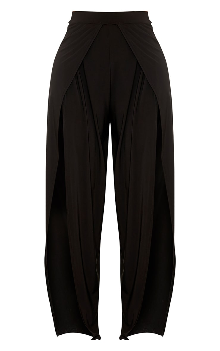 Shape Leticia Black Slinky Split Front Trousers  3