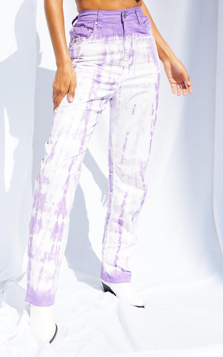 Purple Tie Dye Denim Straight Leg Jeans 2