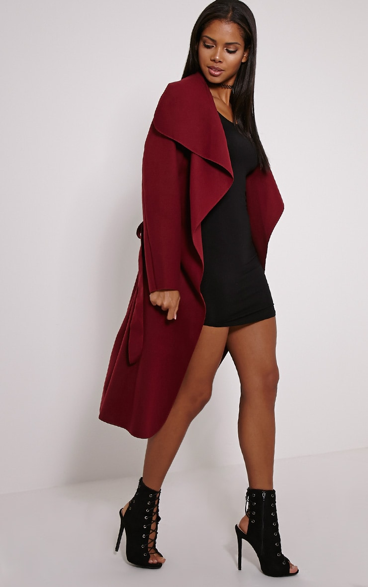 Veronica Oxblood Waterfall Coat 4