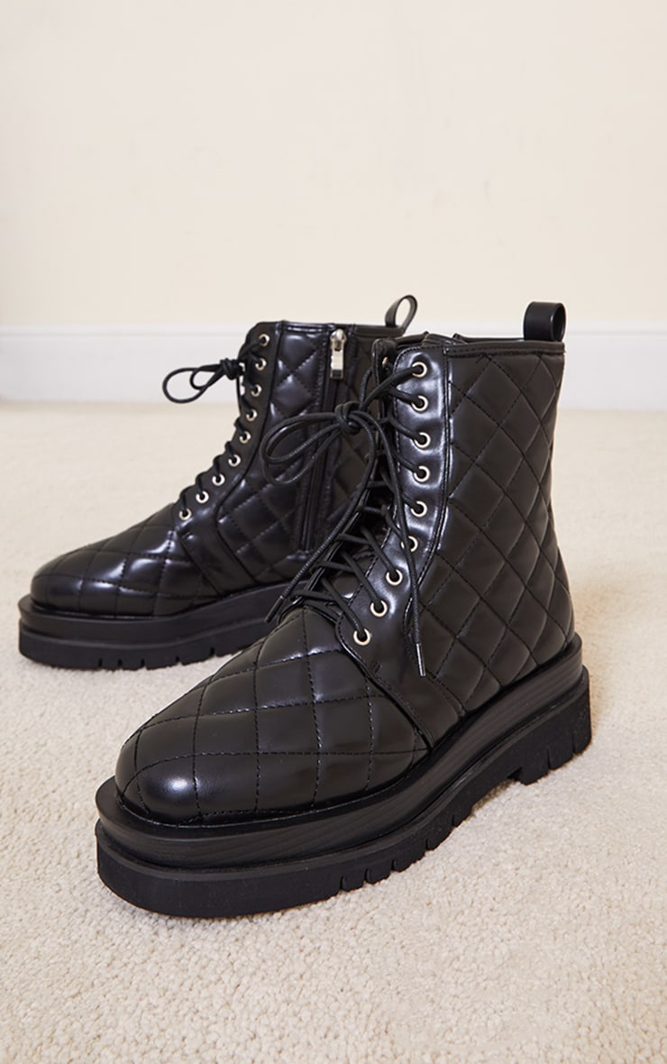 Black Quilted Lace Up Biker Boot 3