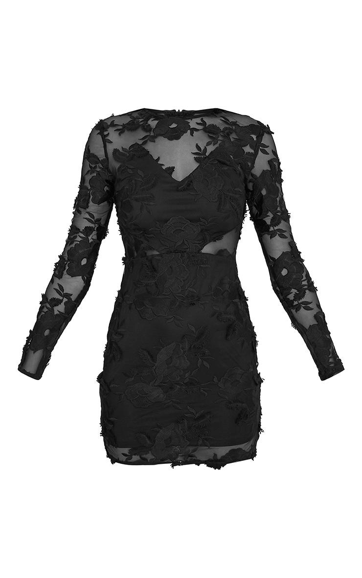 Rayah Black  Floral Applique Long Sleeve Bodycon Dress 3