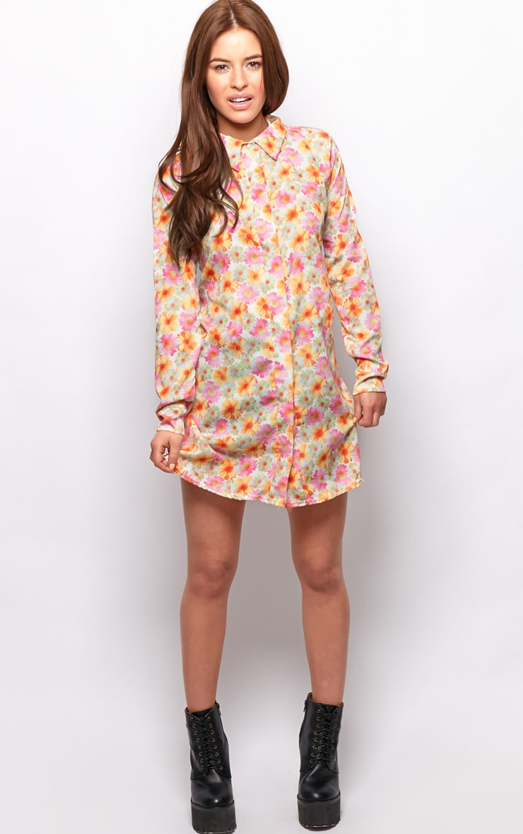 Lyla Orange Daisy Print Chiffon Shirt Dress  3