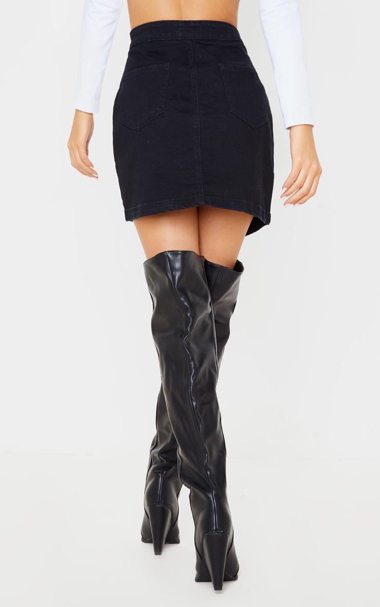 Black Pocket Button Through Asymmetric Denim Skirt 4